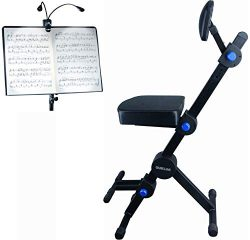 Quik Lok Guitar/Keyboard Performer and DJ Deluxe Seat, Piano Chair, Orchestra Bench w/Padded Adj ...