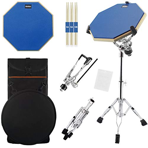 Silent Drum Practice Pad, 12 Inch Double Sided Drum Pad with Adjustable Snare Drum Stand and 3 P ...