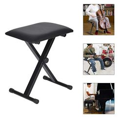 Adjustable X-Style Keyboard Bench, C-Easy Lifting Folding Piano Bench Electronic Organ Bench wit ...