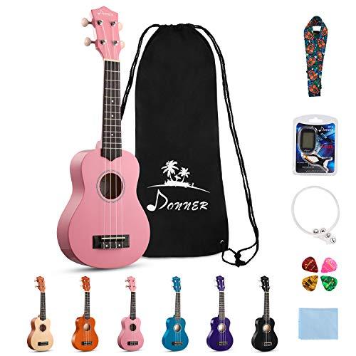 Donner DUS-10K Soprano Ukulele Ukelele Beginner Kit for Kids Students 21 Inch Rainbow with Bag,  ...