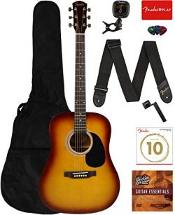 Fender Squier Dreadnought Acoustic Guitar – Sunburst Learn-to-Play Bundle with Gig Bag, Tu ...
