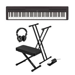 Yamaha P-45 Compact 88-Key Portable Digital Piano + Keyboard Stand + Keyboard Bench + Keyboard P ...