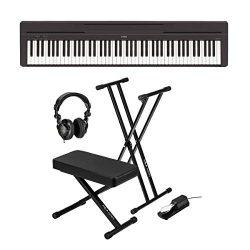 Yamaha P-45 Compact 88-Key Portable Digital Piano + Keyboard Stand + Keyboard Bench + Keyboard P ...