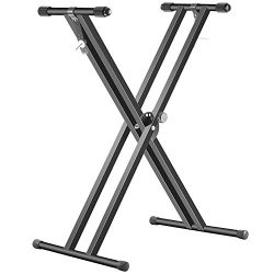 Neewer Black Folding Solid Iron Double-Braced X-Style Keyboard Stand with Locking Straps and 5-P ...
