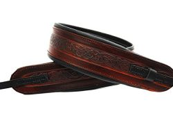 LeatherGraft Walnut Brown Genuine Leather Celtic Knot Pattern Design 3″ Wide Banjo Strap