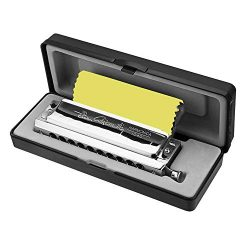 10 Holes 40 Tone in C Key Chromatic Harmonica, Stainless Steel Durable Beautiful Case Chromatics ...