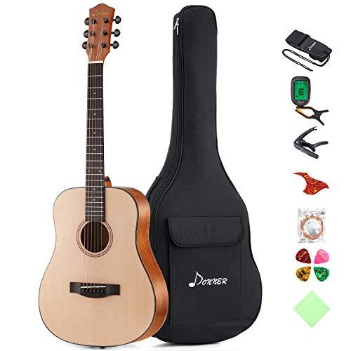 "Donner 36"" Dreadnought Acoustic Guitar Package 3/4 Size Beginner Guitar Kit DAG-1M Spruce  ..."
