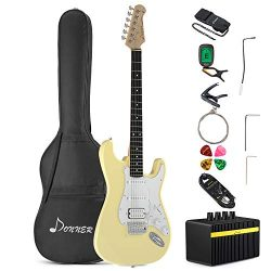 Donner DST-100W Full-Size 39 Inch Electric Guitar White with Amplifier, Bag, Capo, Strap, String ...