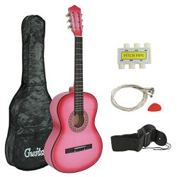 Smartxchoices 38″ Kids Pink Acoustic Guitar Bundle Kit for Starter Beginner Music Lovers,  ...