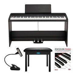 KORG B2SP 88-Key Digital Piano with Stand + 3 Pedal Unit bundle with Knox Gear Bench, Music Ligh ...