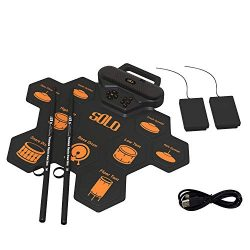 Fanxieast 9 Pads Electric Drum Set,Roll Up and Portable Drum Practice Pad with Headphone Jack, B ...