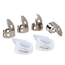 National NP1-8W Thumb & Finger Pick Pack – Stainless Steel/White – Large