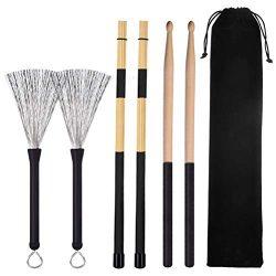 Cooyeah Drum Stick Brush Set, 1 Pair 5A Classic Maple Wood Drum Sticks 1 Pair Retractable Drum W ...