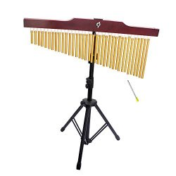 ammoon 36-Tone Golden Bar Chimes 36 Bars Single-row Wind Chime Musical Percussion Instrument wit ...