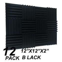 12 Pack Acoustic Wedge Studio Foam Sound Absorption Wall Panels 2″ x 12″ x 12″