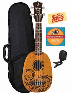Luna Tattoo Mahogany Soprano Pineapple Ukulele Bundle with Hard Case, Tuner, Austin Bazaar Instr ...