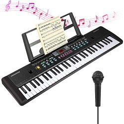 CHUYANG 61 Keys Keyboard Piano, Electronic Digital Piano with Built-In Speaker, Microphone, Shee ...