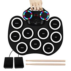 9 Pads Electronic Drum Set Roll up LED Lights Pratice Drum,Bluetooth,MIDI,Built-in Speaker,Long  ...