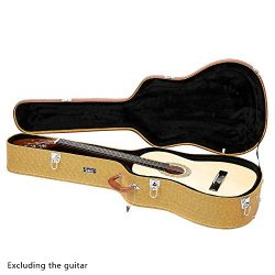 GLARRY 41″ Acoustic Dreadnought Guitar Hardshell Carrying Case Microgroove Flat Guitar Cas ...