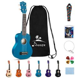 Donner DUS-10B Soprano Ukulele Ukelele Beginner Kit for Kids Students 21 Inch Rainbow with Bag,  ...
