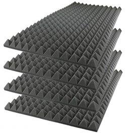 Foamily Acoustic Foam Sound Absorption Pyramid Studio Treatment Wall Panel, 48″ X 24″ ...