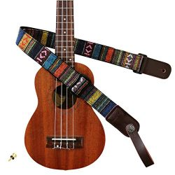 MUSIC FIRST Classic Country style Soft Cotton & Genuine Leather Ukulele Strap Ukulele Should ...