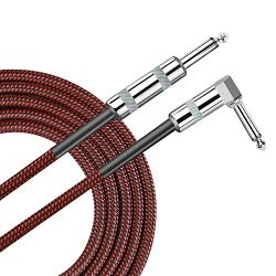 Pulais Guitar Instrument Cable 10 Foot Cord 1/4 inch Right Angle to Straight 10 ft Cable for Bas ...