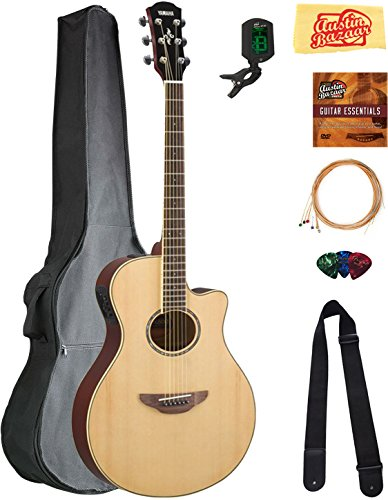Yamaha APX600 Thin Body Acoustic-Electric Guitar – Natural Bundle with Gig Bag, Tuner, Str ...
