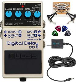 BOSS DD-8 Digital Delay Guitar Effects Pedal Bundle with Blucoil Slim 9V Power Supply AC Adapter ...