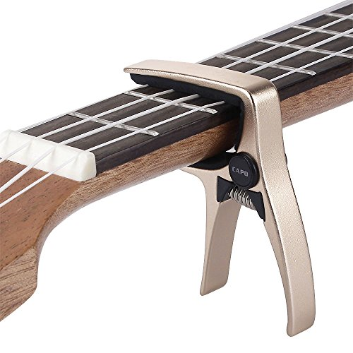 Mini Size Professional 4 String Guitar Capo, Ukulele Capo (GOLD)