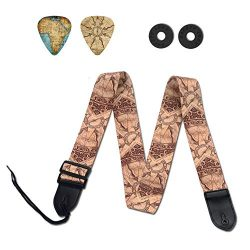 Guitar Strap,Qielizi Guitar Strap with Leather End Length Adjustable 2 Pick Holders & 2 Matc ...