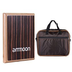 ammoon Compact Travel Box Drum Cajon Flat Hand Drum Percussion Instrument with Adjustable String ...