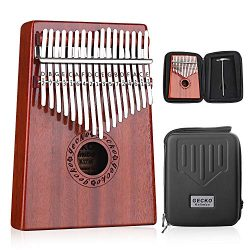 GECKO Kalimba 17 Keys Thumb Piano Builts-in EVA High-Performance Protective Box, Tuning Hammer a ...