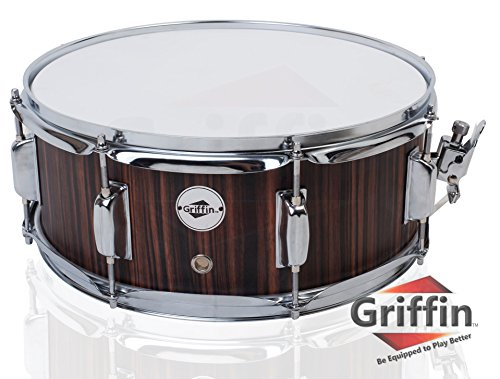 Snare Drum by Griffin | Black Hickory PVC Glossy Finish on Poplar Wood Shell 14″ x 5.5R ...