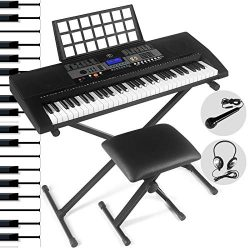 61 Key Portable Electronic Keyboard Piano Keyboard with LCD Screen,Headphones, Microphone, Pian ...