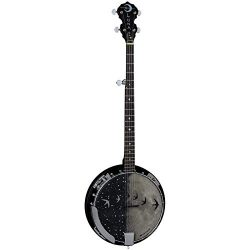 Luna Moonbird 5-String Acoustic/Electric Banjo, Satin Black, BGB MOON 5E