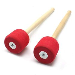 Gonioa HUELE 13 Inches Red Foam Mallet Drum Mallets Sticks Drumstick Instrument