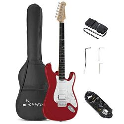 Donner DST-100R Full-Size 39 Inch Electric Guitar Red with Bag, Strap, Cable