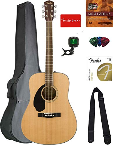 Fender CD-60S Solid Top Dreadnought Acoustic Guitar, Left Handed – Natural Bundle with Gig ...