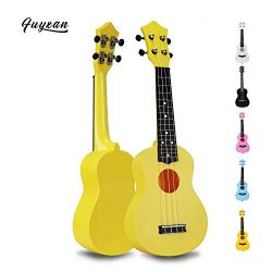 Soprano Ukulele Hawaiian Guitar Musical Instrument with Nylon Strings for Students Beginners Kid ...