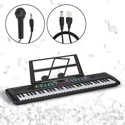 Music 61-Key Keyboard Piano Kids Portable Electronic Organ Teaching Musical Instruments for Begi ...