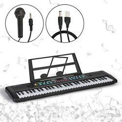Music 61-Key Keyboard Piano Kids Portable Electronic Organ Teaching Musical Instruments for Begi ...