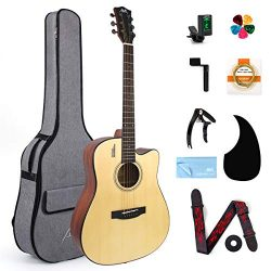 AKLOT Acoustic Guitar Full Size 41 inch Spruce Cutaway Guitar Bundle for Students Kids Beginners ...