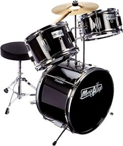 Music Alley 3 Piece Kids Drum Set with Throne, Cymbal, Pedal & Drumsticks, Metallic Black, ( ...