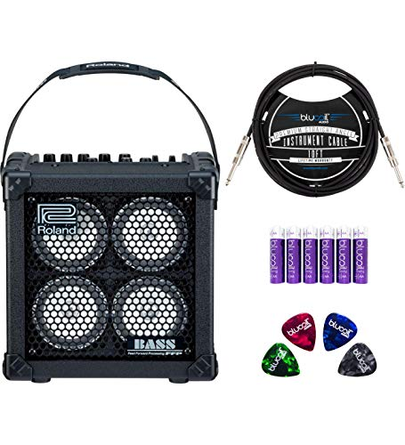Roland Micro Cube Bass RX Battery Powered Amplifier for Bass Guitars Bundle with Blucoil 10-FT S ...