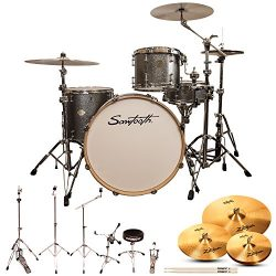 Sawtooth Command Series 4-Piece Shell Pack with 24″ Bass Drum, Hardware & Zildjian ZBT ...