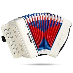 Souidmy Kids Accordion, 10 Keys Button Toy Accordian include 3 Air Valve, Mini Musical Instrumen ...