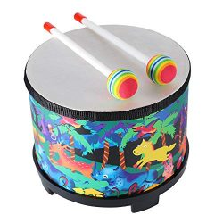 Floor Tom Drum for Kids 8 inch Montessori Percussion Instrument Music Drum Toys with 2 Mallets f ...