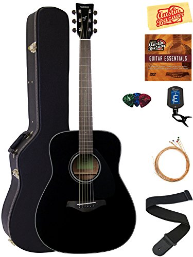 Yamaha FG800 Solid Top Folk Acoustic Guitar – Black Bundle with Hard Case, Tuner, Strings, ...