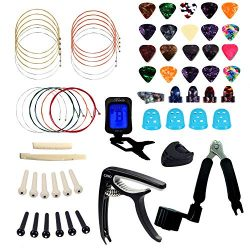 66 Pcs Guitar Accessories Kit, Guitar Strings, Celluloid Picks, Guitar Capo, Celluloid Thumb Fin ...